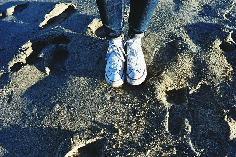 Beach Sunlight Outdoors Human Leg Real People Day Sand Water Close-up One Person Nature Asburyparkwaterfont Asburyboardwalk Jersey Shore Asburyparkboardwalk Asbury Park New Jersey Beach Life Converse⭐