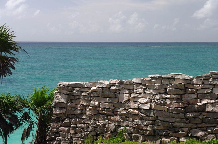 Ancient Mexican Wall - Tulum - Quintana Roo - Mexico Ancient Architecture Ancient Civilization Ancient Ruins Ancient Wall Carribean Carribean Sea Horizon Over Water Maya Mayan Ruins Sea Tropical Climate Wall