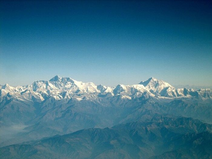 Aerial View Aerial Photography From An Airplane Window Mt.Everest and Mt.makalu Nepal