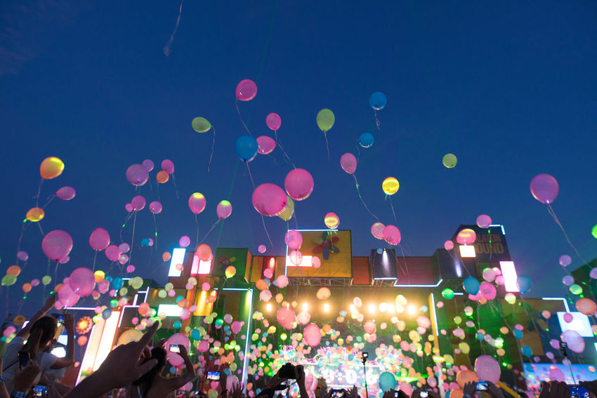 Balloons Balloon Celebration Crowd Helium Balloon Large Group Of People Mainstage Multi Colored Music Festival Night People