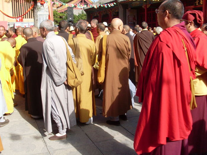 """""""1000 Year Meeting at Baiyun Temple"""", in Wutaishan Shanxi. The big Buddhist Monk meeting is held every 1000 years. It was the second meeting. Adult Adults Only Buddhism Buddhist Monks Buddhist Temple Day Lama Monks Large Group Of People Men Monks Outdoors People Real People Rear View Religion Spirituality Togetherness Women"""