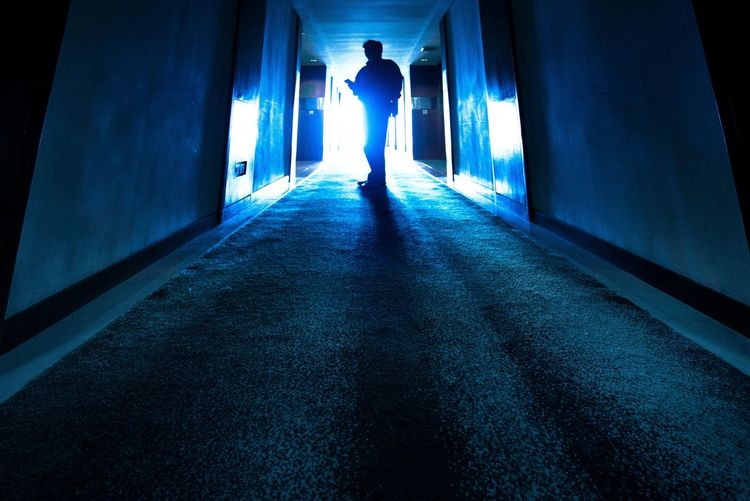 Corridor Blue Between Two Walls Blue Corridor Dark Diminishing Perspective Flooring Illuminated Interior Leisure Activity Lifestyles Narrow Silhouette Wide Angle Color Palette The Magic Mission