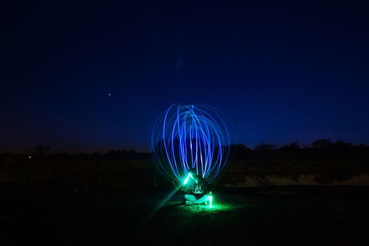 Motion Spinning Light Painting Night Light Trail Sky Long Exposure Outdoors Illuminated Speed EyeEm Selects