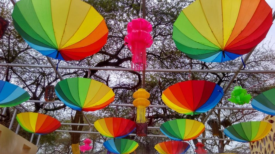 Rainbow Umbrella Umbrella Rainbow Umbrella Multi Colored Variation Day Choice Low Angle View No People Outdoors
