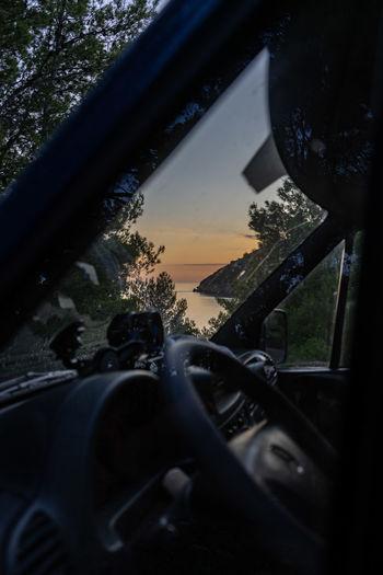 View of car through window