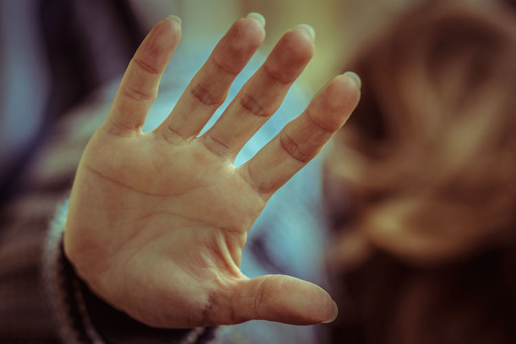 Close-up of person hand showing
