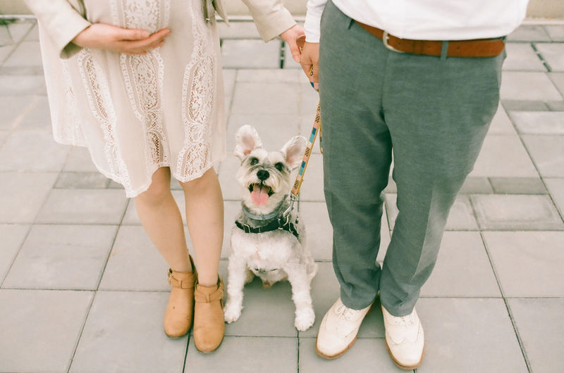 Low section of couple standing with dog on footpath