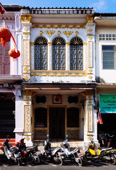 Old house in Phuket city Architecture Building Exterior Built Structure Day House Motorbike No People Phuket Thailand