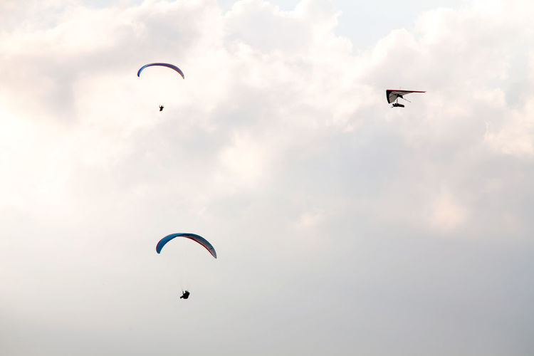 Low Angle View Of Silhouette People Paragliding Against Sky