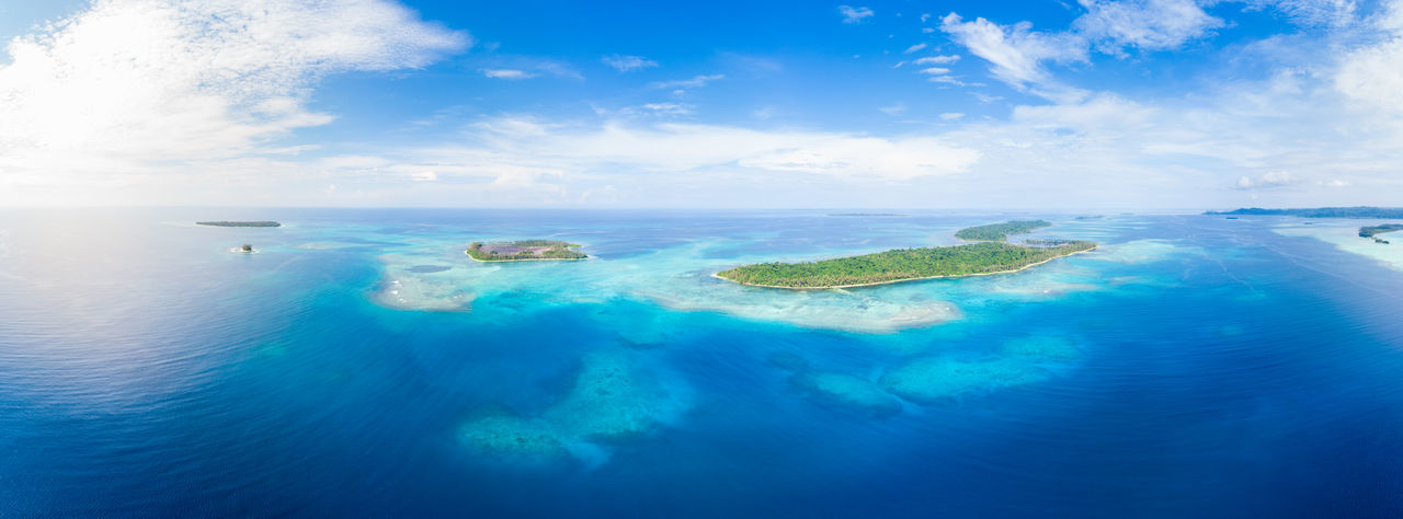 Water Sea Blue Sky Cloud - Sky Scenics - Nature Island Nature Day Land Beauty In Nature Travel Destinations No People Lagoon Tranquil Scene Travel Tranquility Horizon Over Water Beach Turquoise Colored Outdoors Tahiti