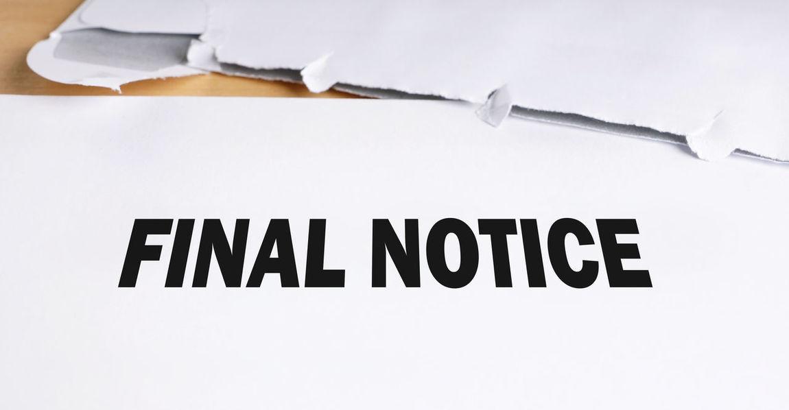 Business Close-up Dunning Envelope Final Final Notice Finance Letter Notice Office Open Overdue Reminder