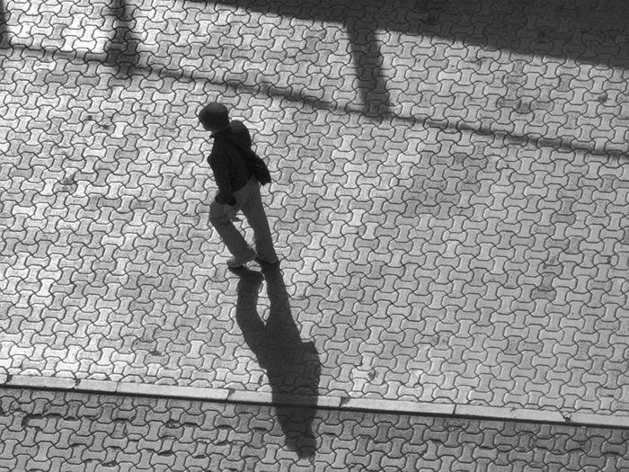 Shadow Sunlight Full Length High Angle View Focus On Shadow Long Shadow - Shadow Paved Energetic Cobblestone Street Scene Walkway Pavement