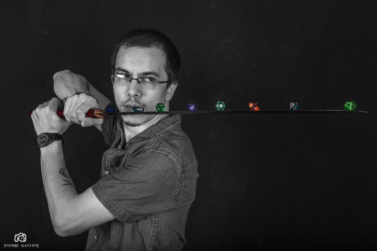 Adult Black & White Black And White Black And White Photography Black And White Portrait Black Background Blackandwhite Blackandwhite Photography Gamer Katana One Person People Portrait Portrait De Rôliste Portrait Photography Real People Sword Young Adult
