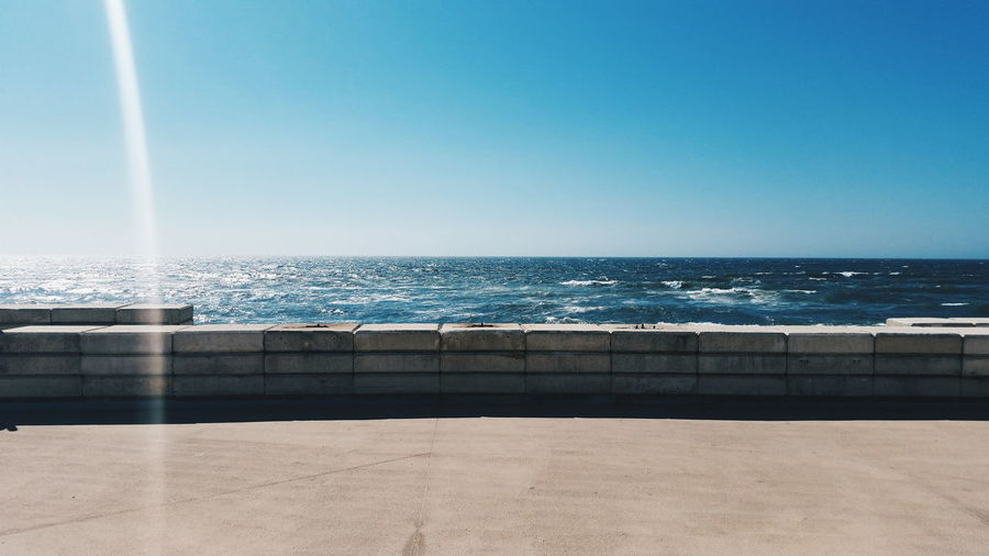Scenic View Of Sea Against Clear Sky Seen From Promenade