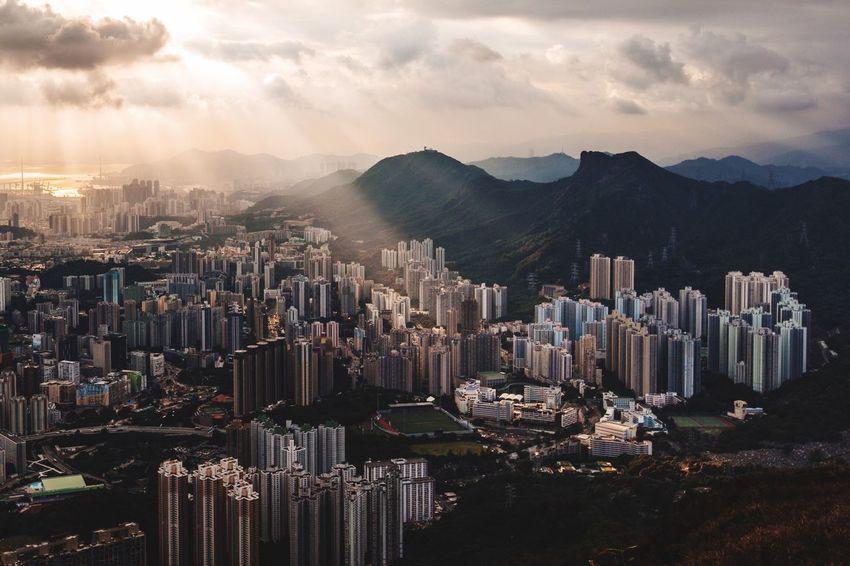 HongKong Skyscraper Building Exterior City Cityscape Sunset