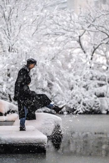 Snowy Tokyo Ⅲ ► w/ @mariyahummingbird Tokyo Snow Winter Cold Temperature Snowing One Person Full Length Warm Clothing Motion Side View Snowflake