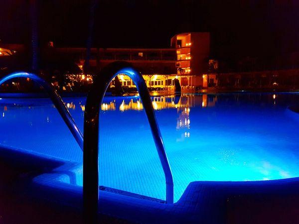 Night Water Illuminated Swimming Pool Blue No People Canary Islands Corralejo, Fuerteventura Fuerteventura Island Fuerteventura Vacations Club Hotel Drago Park