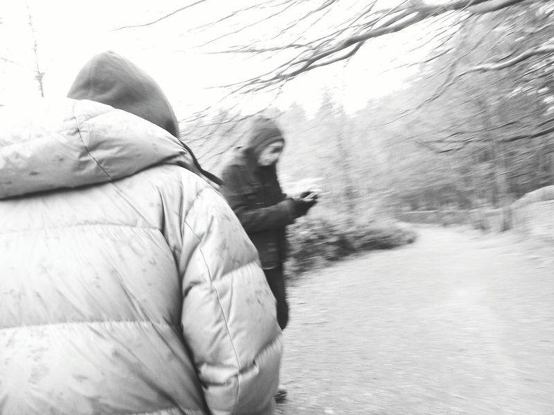 Photography In Motion Glitch Here Belongs To Me Things I Like Portrait Nature Outdoor Photography Out And About Yorkshire HOODIES Cold Windy Ogden Black And White Photography Black And White Black & White Monochrome Landscape Trees No Leaves Black And White Portrait People Walking Day Trip Day Out