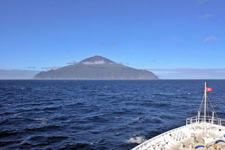 Sea Water Mountain Sky Scenics - Nature Travel Nautical Vessel No People Travel Destinations Mode Of Transportation Outdoors Copy Space Transportation Nature Day Clear Sky Island Ahead Tristan Da Cunha Tristan Da Cunha Island Most Remote Island In The World Vulcano Island