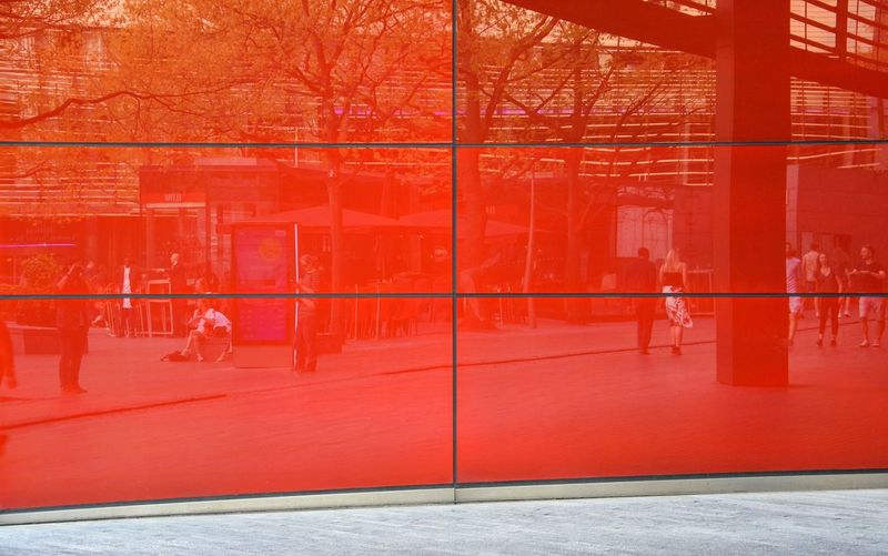 Red Reflection Street Reflections Urban Geometry Urban Impressions London Red Window Tainted Glass Glass Red Architecture Built Structure Wall - Building Feature Day City Building Exterior Street Footpath Outdoors