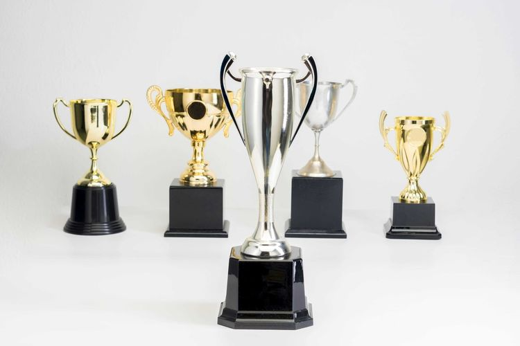 Variety of Trophy Cup on white background Trophy AWARD Success Winning Achievement Studio Shot Indoors  Competition Gold Colored White Background Still Life Shiny Group Of Objects No People Gold Pride Side By Side In A Row Medal Cut Out Silver Colored