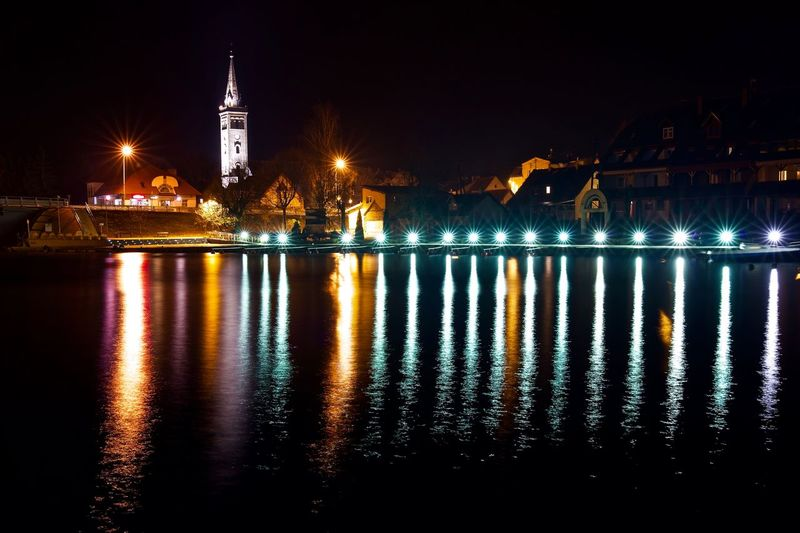 Big Stars Has Landed Colors Reflection Mikołajki Poland Star Water Illuminated Night Architecture Reflection Water Built Structure Waterfront Building Exterior Sky City Lighting Equipment Building Tower Glowing Light Travel Destinations EyeEmNewHere