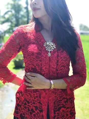 Kebaya Casual Clothing Blouse Brooches Of Class Brooches Lace Red  Follow Followforfollow