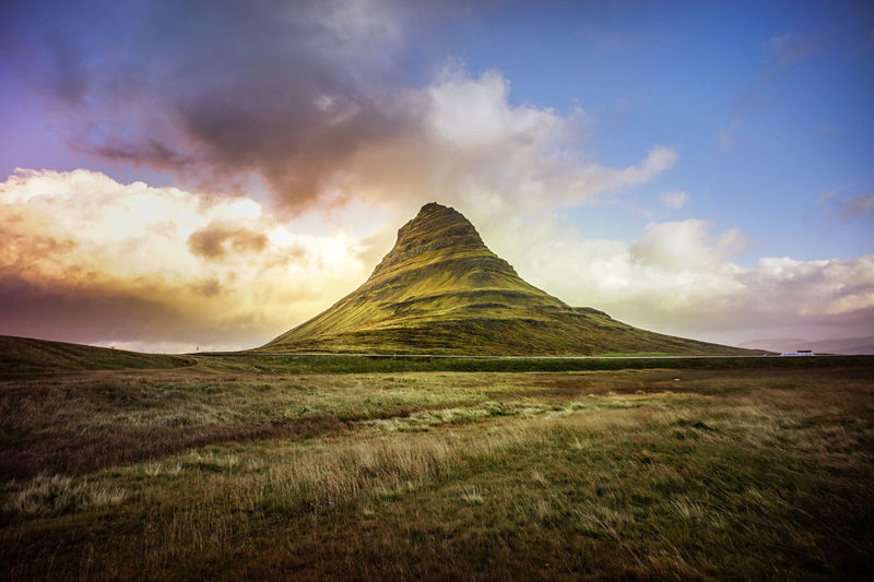 Kirkjufell Mountain, Iceland, Landscape with waterfalls in morning light Sky Cloud - Sky Environment Beauty In Nature Scenics - Nature Landscape Nature Tranquil Scene Grass No People Tranquility Land Mountain Non-urban Scene Idyllic Outdoors Dramatic Sky Sunset Day Plant Mountain Peak Iceland Nature_collection