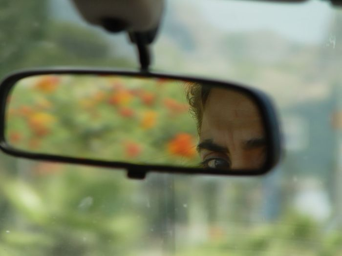 From 13 years ago (2003/ 2004) Forehead Woman Close-up Day Eye Flowers In The Mirror Focus On Foreground Human Body Part Inside The Car Reflection Side-view Mirror Transportation