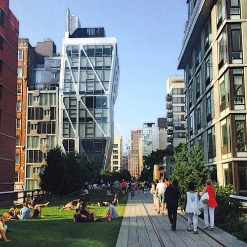 The NYCHighLine - Park that runs where there used to be an elevated train decades ago in the city, from Gansevoort St to 30th street. Cool spot to chill, people watch or take advantage of the summer and go on a walking date. Or bag somethin'... Newyorkcity Chelsea Manhattan HighLineNYC