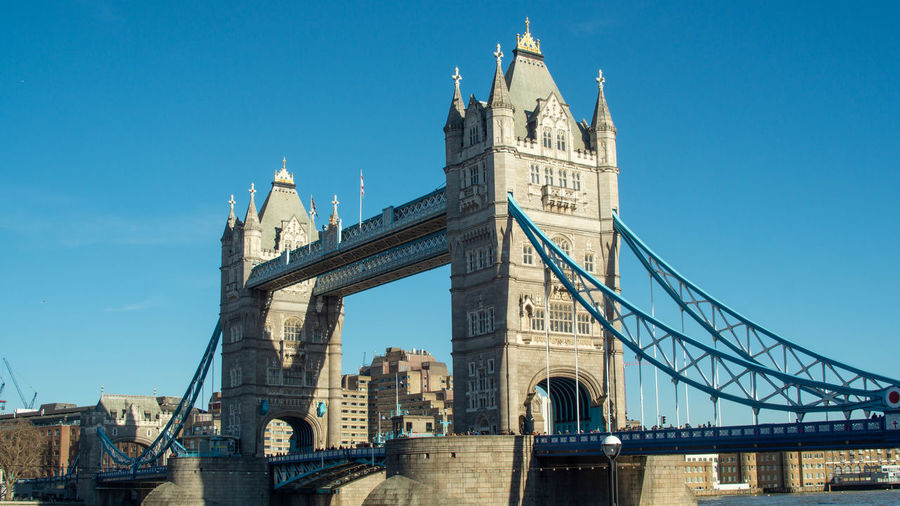 Close up side view of tower bridge over the thames in london