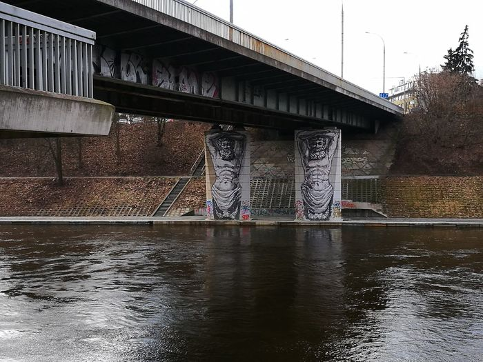 Vilnius, Lithuania Waely Spring Architecture Bridge Built Structure Day Grafity No People Outdoors River Bank  Sky