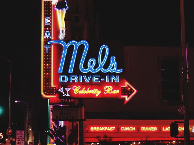 Mel's Diner Diner Hollywood Sunset Blvd Mels Drive-in Los Angeles, California Illuminated Text Night Western Script Communication Neon California Dreamin Advertisement Architecture City Low Angle View No People California Dreamin