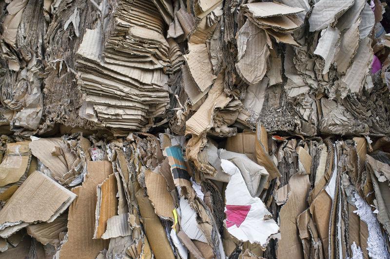 Full frame shot of waste cardboard