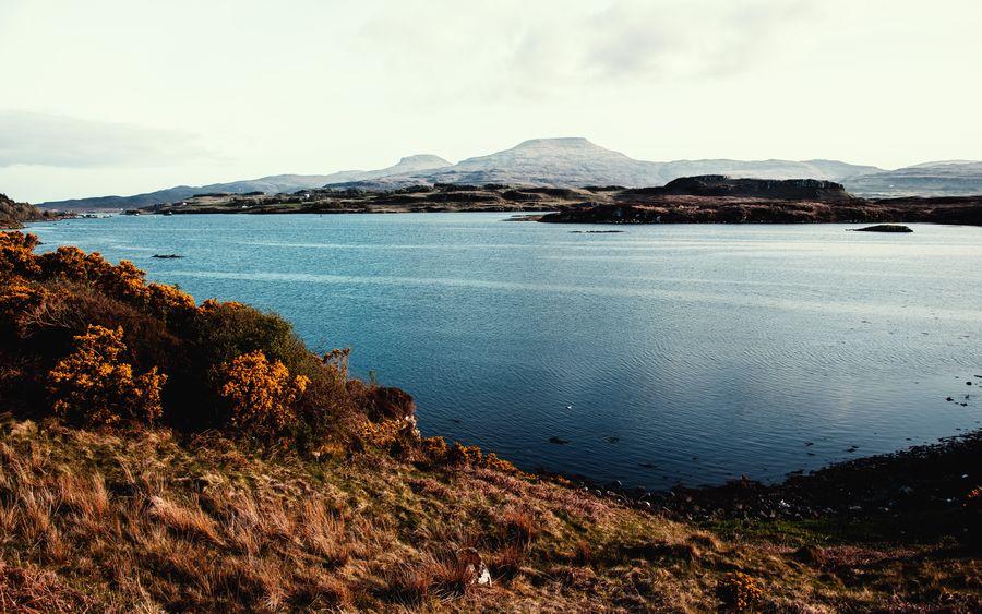 Vintage look Dunvegan Scotlland Vintage Look Isle Of Skye Lake Land Landscape Mountain Nature Outdoors Scenics - Nature Sea Vintage Water