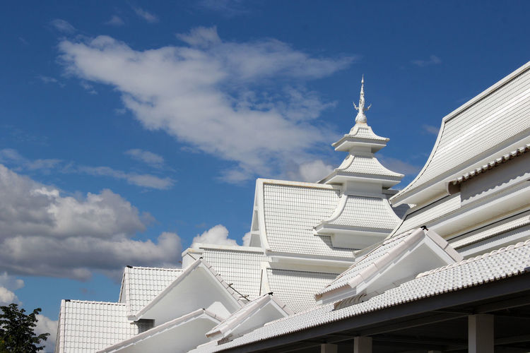 Wat Rong Khun Architecture Building Exterior Built Structure Chiangmai,Thailand Cloud - Sky Day Exterior Low Angle View No People Outdoors Place Of Worship Religion Sky Spirituality White Temple