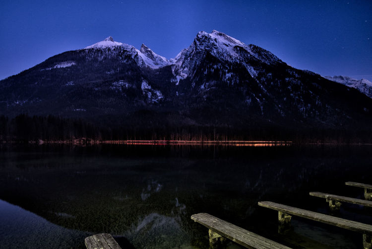 Alps Austria Berchtesgaden Berchtesgadener Land  Germany Hintersee Lake Mountain Mountain Range Nightphotography Ramsau  Reflections Rocks And Water Single Tree Trees