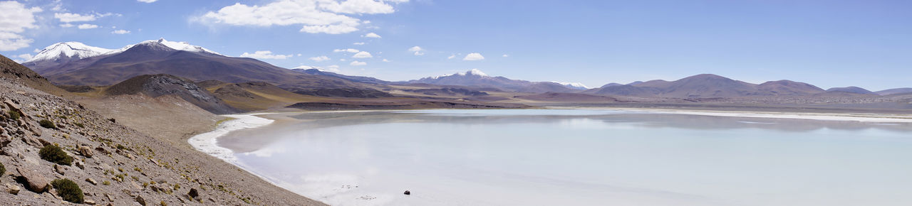 Wide panorama of Miscanti Lake, Chile. The miniques volcano complex in the distance. Atacama Desert Chile Chilean Andes Laguna Miscanti Laguna Miñiques Miscanti Lake Nature Beauty In Nature Desert Lake Landscape Mountain Range Nature No People Outdoors Salt - Mineral Scenics South America Water