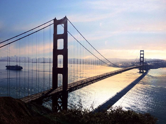 Suspension bridge at dusk