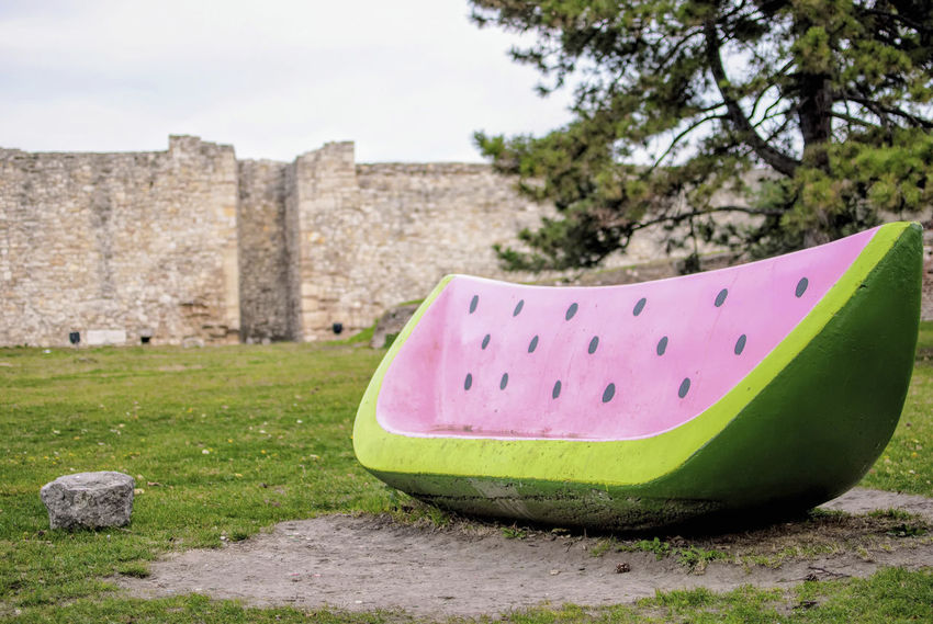 Watermelon bench 🍉. Architecture Built Structure Colored Bench Creative Creative Bench Empty Bench Fruity Fruity Bench Kalemegdan  Kalemegdan Park No People Watermelon Watermelon Bench Watermelon Seeds