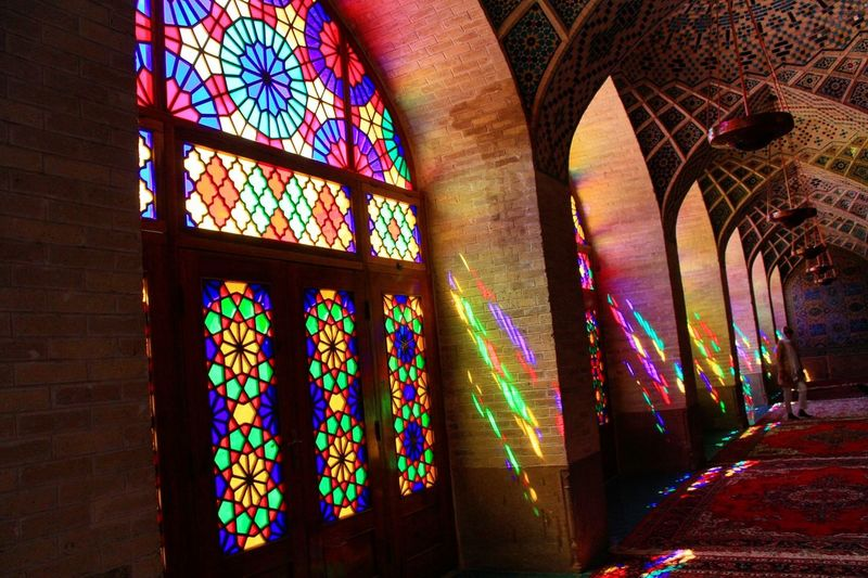 Nasir al mulk mosque also known as pink mosque in Shiraz, Iran. It's the most beautiful mosque I have seen very beautiful architechture, detail. The window made from colorfuls glasses when the sunshine through the window make a beautiful images on the floor and walls. Nasir_al_molk_mosque Mosque Shīrāz Iran Architecturephotography Travel Photography Travelgirl Travel Nasir_al_molk Nasiralmulk Nasiralmulkmosque