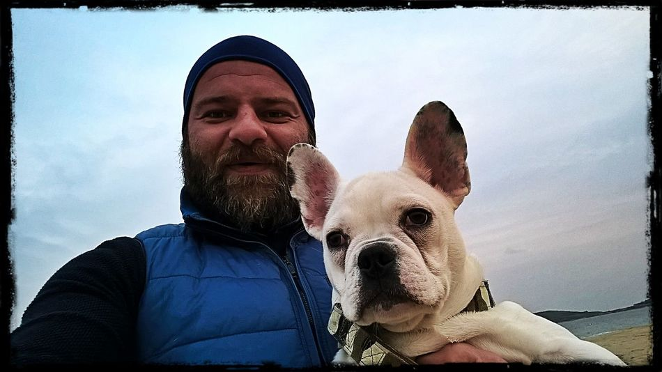 Portrait Looking At Camera Dog Human Face One Animal One Person Men Pets Outdoors Sky Taking Photos Leon Beach Check This Out I❤greece Domestic Animals Sea Francebulldog Animal Themes Enjoying Life Looking At Camera Hello World Horizon Over Water