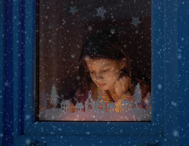 Happy time Christmastime Portrait Children Only Window Child Childhood Headshot One Person People Looking Through Window One Girl Only Snowing Snowflake Night Fragility Girls Elementary Age
