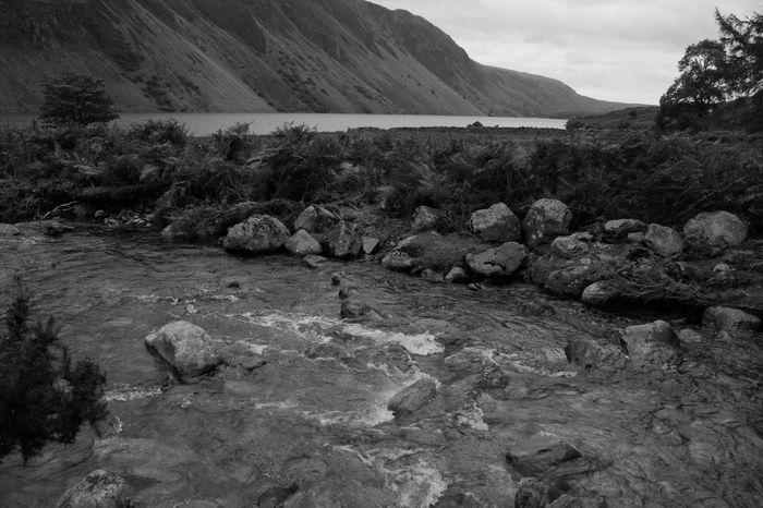 Lake Mountain Scenery Tranquil Scene Tranquility River - Flowing Water Countryside Water Movement Black And White Photography Black And White Mountain Sky Landscape Stream Non-urban Scene Scenics Lakeside