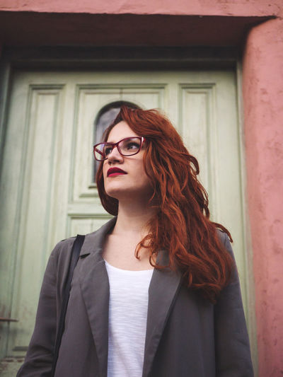 Beautiful Belgrade Fashion Green Life Love Makeup Pink Red Redhead Romantic Rustic Serbia Smart Travel Woman Beauty Curly Hair Europe Explore Eye Eyeglasses  Mysterious Mystery Young Adult