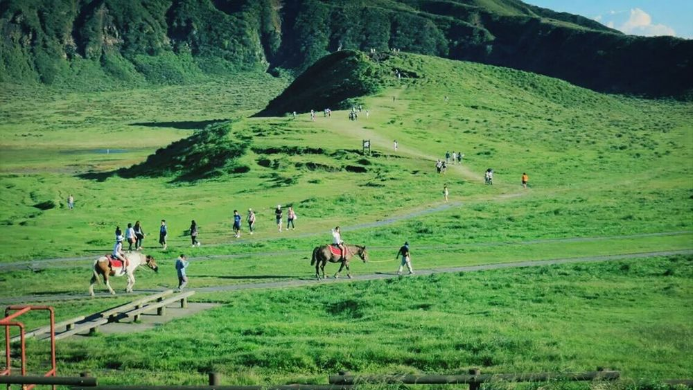 Aso Mountains People Horsing