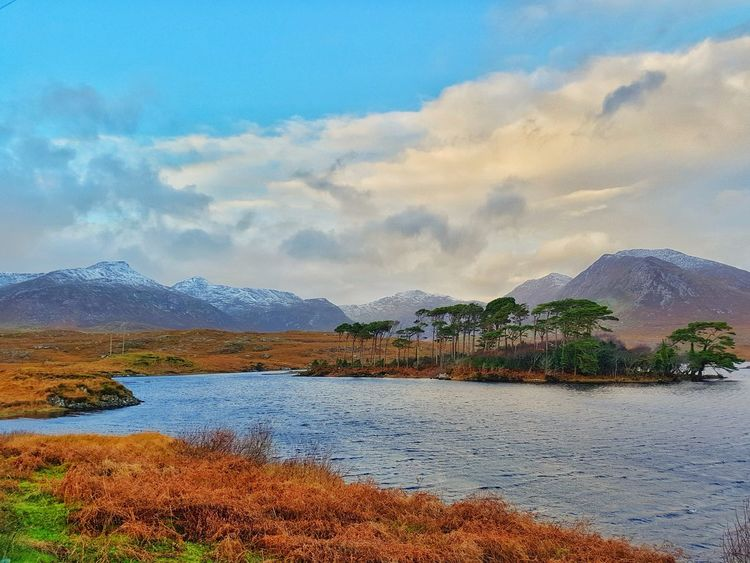 Natural beauty Mountain Lake Mountain Range Landscape Outdoors No People Nature Rural Scene Tree Snow Ireland Winter Snow Winter Weather Bitter Cold Myownphotography Naturephotography West Of Ireland Nature Lover