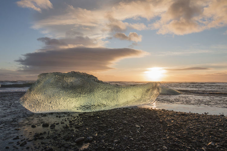 Iceland Reykjavik Beach Beauty In Nature Cloud - Sky Day Diamond Beach Horizon Over Water Nature No People Outdoors Sand Scenics Sea Shore Sky Sunset Tranquil Scene Tranquility Water Wave An Eye For Travel
