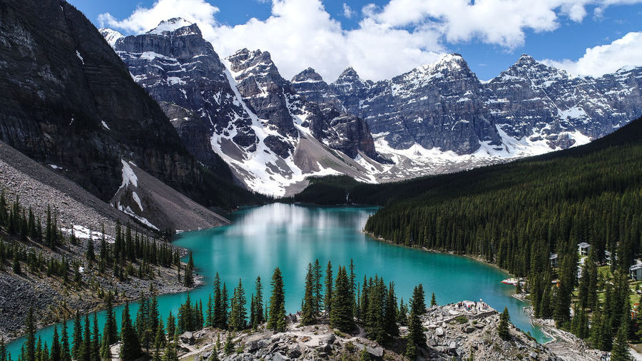 Moraine Lake Lost In The Landscape Beauty In Nature Cloud - Sky Cold Temperature Day Dji Dji Phantom 4 Pro Glacier Idyllic Lake Mountain Mountain Range Nature No People Non-urban Scene Outdoors Physical Geography Rocky Mountains Scenics Sky Snow Snowcapped Mountain Tranquil Scene Tranquility Water