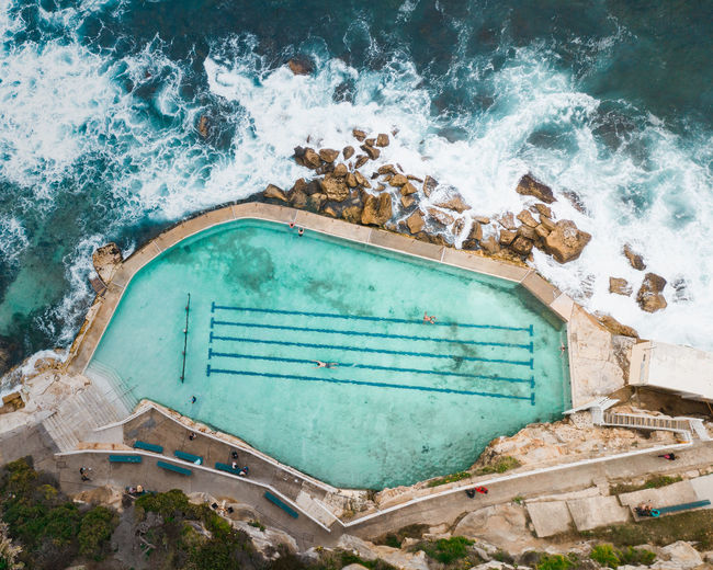 Water Sea Nature High Angle View Pool Day Swimming Pool No People Land Travel Destinations Aquatic Sport Outdoors Motion Holiday Trip Architecture Absence Tranquility Turquoise Colored Rockpool Australia Drone  Dronephotography Bronte Beach Aerial View